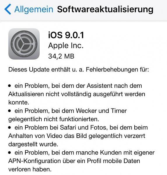 Klicken Sie auf die Grafik für eine größere Ansicht  Name:iOS-9.0.1-Update-changelog.jpg Hits:92 Größe:71,7 KB ID:52117
