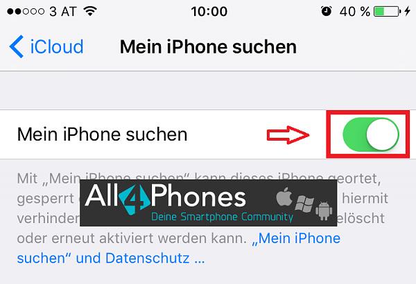 Klicken Sie auf die Grafik für eine größere Ansicht  Name:iPhone-mein-iphone-suchen-deaktivieren.PNG Hits:88 Größe:65,5 KB ID:52245