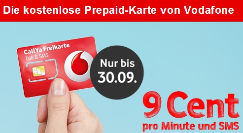 CallYa Freikarte: Günstiger Vodafone Prepaid-Tarif jetzt kostenlos!