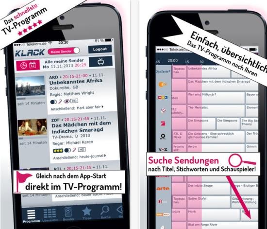 """Klack App: Gratis TV-Programm Anwendung f�r """"Schnellstarter"""""""