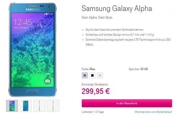 Telekom-Angebot: Samsung Galaxy Alpha für unter 300.- Euro im Online-Shop