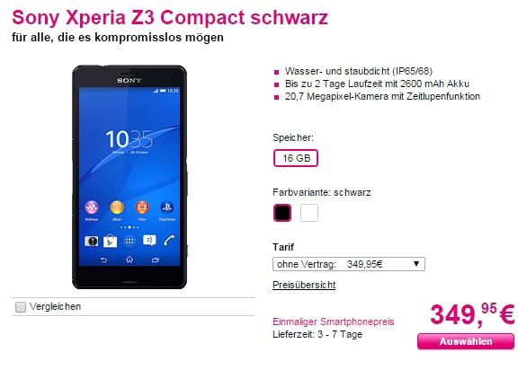 Smartphone-Tiefpreis: Sony Xperia Z3 Compact im Telekom Shop deutlich reduziert!