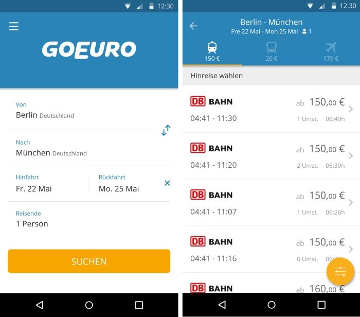 GoEuro App: Der smarte Reisef�hrer f�r g�nstige Bus, Bahn und Flugverbindungen