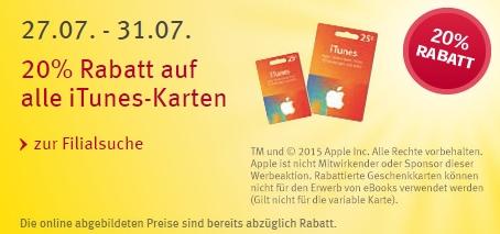 Rossmann: iTunes-Karten Rabatt Aktion bis zum 31.07 [20% sparen]