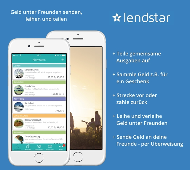 Lendstar App: Ganz einfach und kostenlos Geld senden, leihen und teilen
