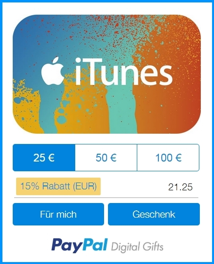 paypal rewe g nstige itunes karten am wochenende abstauben. Black Bedroom Furniture Sets. Home Design Ideas