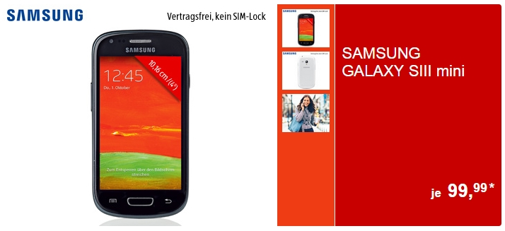 Galaxy S3 Mini GT-I8200 bei Aldi S�d f�r 99,99.- Euro im Angebot
