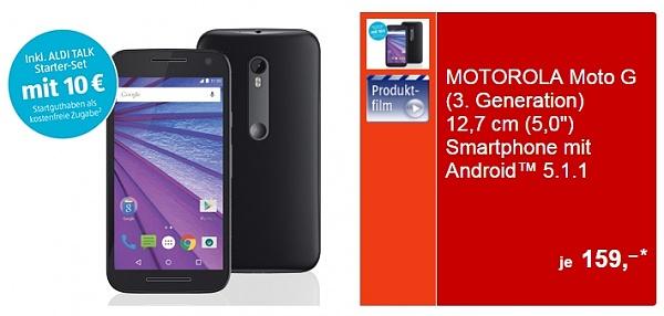 Ab Donnerstag bei Aldi: Motorola Moto G (3. Generation) für 159.- Euro