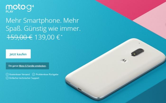 Lenovo Moto G4: Smartphone günstiger kaufen und bis zu 30.- Euro sparen