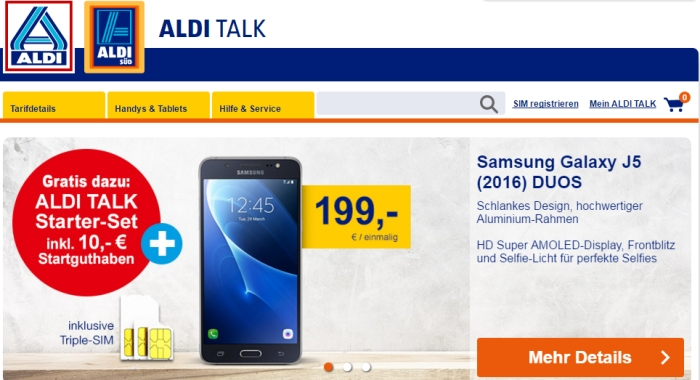 Aldi Talk startet Online-Shop für Smartphones, Tablets & Zubehör
