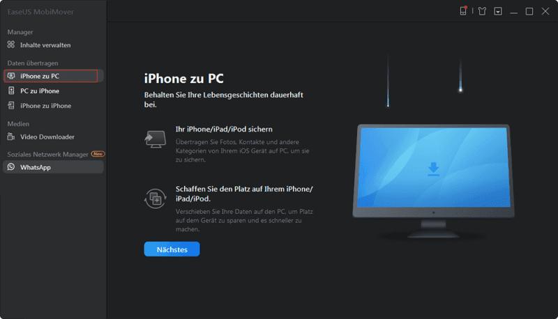 Datentransfer von iOS auf Windows oder macOS herstellen
